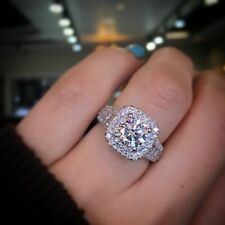 2 Ct White Round Cz Solid 925 Sterling Silver Fine Wedding Engagement Women Ring