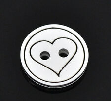 25  Resin Round Black Heart  Buttons 13mm Good Quality Sewing scrapbooking Craft