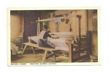 QUEBEC CANADA Woman Weaving Loom Metier A Tisser Vtg PC