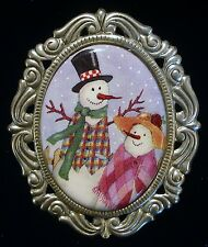 Frosty Snowman Couple Porcelain Brooch Winter Holiday