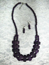 NEW DEEP PURPLE COLOR WOOD BEADED NECKLACE & EARRINGS SET WOODEN BEADS JEWELRY