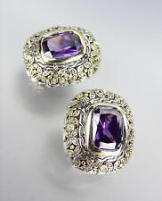 GORGEOUS Designer Style Balinese Silver Gold Purple Amethyst CZ Crystal Earrings