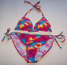 Free Fusion Ladies Tie Dye Print 2 Piece Bikini Bathers Swimsuit Size M New