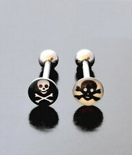 Tongue Barbell Skull And Crossbones Logo Surgical Steel Body Piercing Bar 14g