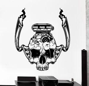 Wall Vinyl Decal Car Motor Engine Skull Garage Home Interior Decor z4024