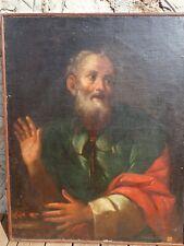 Peinture 18e siècle représentant un vieil homme, huile sur toile.