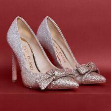 River Island Womens Size 4 Stilletto Shoe Rose Gold Silver Glitter Bow