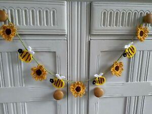 Handmade Crochet Sunflower & Bee Bunting/Garland/ Garden Room/Nursery/Gift idea