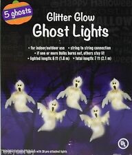Halloween 5 Glitter Glow Ghost Lights with 30 Pre-Attached Lights NIB
