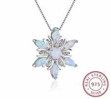 Stunning Opal & 925 Sterling Silver Snowflake Necklace Pendant Chain