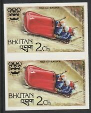 Bhutan (967) 1976 Winter Olympics - Bobsleigh IMPERF PAIR u/m