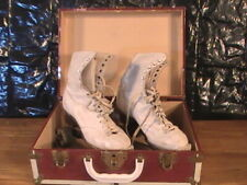 vintage official roller derby womens skates with red &white metal case