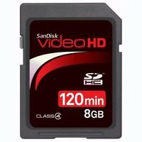 SanDisk 8GB SDHC Secure Digital Class4 VideoHD Memory Card for Camera