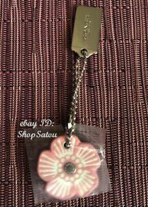 NEW COACH Faux Leather Flower Handbag Tag Bag Charm Purse Chain PINK