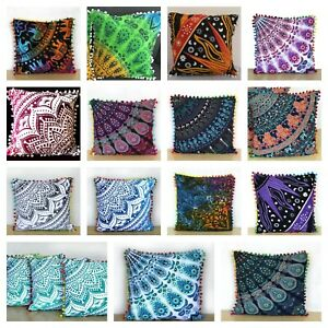 "Boho Hippie Bohemian Mandala Sofa Bed Pom Pom Cushion Covers 16""/41cm HOME DÉCOR"