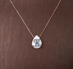 K LETTER TURQUOISE ROSE GOLD COLORED OVER STERLING SILVER NECKLACE #32369