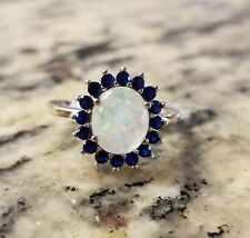 925 STERLING SILVER, OPAL & LAB SAPPHIRE  HALO RIGHT HAND COCKTAIL  RING SIZE 7