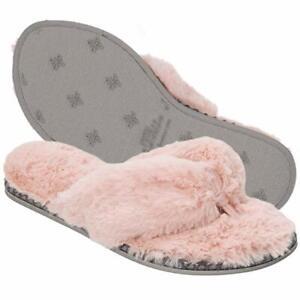 Dearfoams Women's (11-12)~ Pink Thong Slippers~ Men's (9.5 to 10.5) Plush Furry