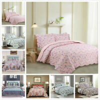 3-Piece Oversize  Reversible Floral Printed Patchwork Quilt Set Queen/King Size