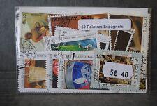 Peintres Espagnols, tableaux, 50 timbres thématiques, tous différents