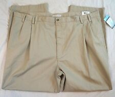 Geoffrey Beene Pleated Wrinkle Resistant Stone Khaki Pants Size 52 X 32 NWT