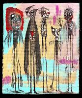 GUS FINK art ORIGINAL Painting abstract outsider lowbrow modern pop DARKLINGS