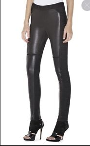 HERVE LEGER BLACK LEATHER PAZ LEGGINGS SIZE MEDIUM