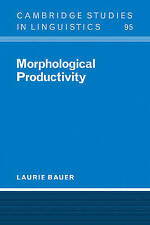 Very Good 052102515X Paperback Morphological Productivity (Cambridge Studies in