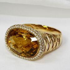 Anillo Extravagante en 750 Oro con CITRINO Y BRILLANTE 0,45 ct.tw.si