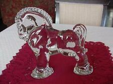 "VINTAGE HEISEY GLASS LARGE CLYDESDALE HORSE FIGURINE 7 1/4"" HIGH"