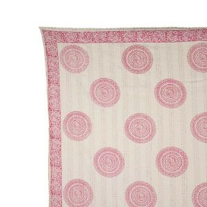 Vintage Cotton Kantha Bedspread Flower Hand Block Print Blanket Gudari Bedding