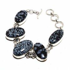 Snowflake Obsidian Ethnic Jewelry Handmade Bracelet 34 Gms UB-3563