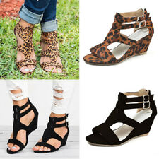 Women Wedge Mid Heel Buckle Sandals Ladies Summer Hollow Out Pumps Shoes Size US