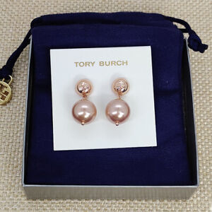 Tory Burch Flaux Rose Gold Crystal Pearl Drop Earrings w/ card & pouch