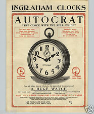 1913 PAPER AD 2 Sided Ingraham Autocrat Clock Alarm Indian Fiat Triumph Vedette