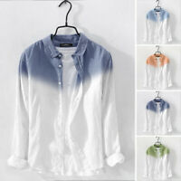 Men's Long Sleeve Linen Shirt Male Casual Slim Fit Button Down Shirts Top Blouse