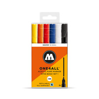 MOLOTOW ONE 4 ALL 127HS - 2MM NIB PAINT PEN SET, BASIC SET 1 - 6 MARKERS