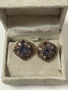 Vintage Cocktail Party Sterling Platinum CLIP ON Gold Tone Earrings