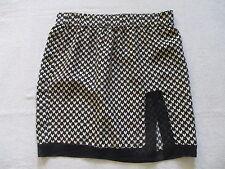 DIANE VON FURSTENBERG Black Yellow Floral Print Mini Lace Trimmed Skirt Size S