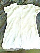 New WHITE SOFT TERRY ROBE Swim Cover Up ZIP Frt Pkts L Bobbie Brooks Loungewear