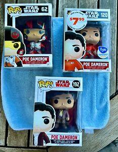 funko pop Star Wars POE DAMERON (3) 62 120 192 MIB never opened $7 ship USA !