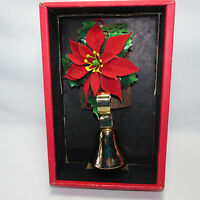 Vtg Christmas Bell Log Hanging Decoration Pointsettia Criterion Bell Specialty
