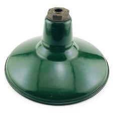 "Benjamin 12"" Green Porcelain Enamel Light Fixture Industrial Gas Station Barn #1"