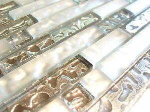 Glasmosaik Klarglas 8mm Mosaik Fliese silber glänzend weiss matt SMFTS101