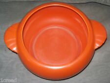 Vintage CALIFORNIA POTTERY Casserole Orange Round Bowl Pot Dish Cooking