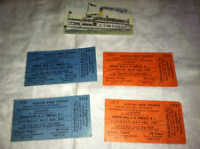 1947 LOT of 4 ROUND TRIP TICKETS BOYSCOUT JAMBOREE VIA WILSON LINE STEAMER MAY