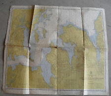 BIG Vintage 1955 Map of Noth Shore Long Island Sound & East River 33x36 LOOK