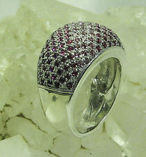 HSN Big Bold 2-Tones of Pink Crystal Dome 925 Sterling Silver Ring SZ 8