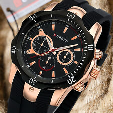 CURREN Mens Casual Military Army Sport Silicone Strap Business Analog Wristwatch