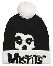 THE MISFITS POM BEANIE FIEND SKULL LOGO KNIT WINTER HAT SKI CAP BLACK WHITE